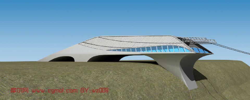 未�憩F代�|�站,�F代建筑,室外�鼍�max模型