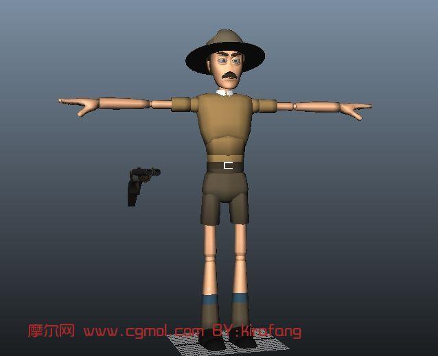 警察,卡通人物maya模型 卡通角色 动画角色高清图片