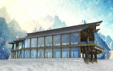 现代木结构建筑,房子,室外场景max模型