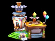 Q版建筑,卡通场景,玩具店max模型