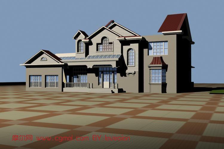 场景模型 现代场景  关键词:别墅住宅室外场景max 作品描述:新手别墅