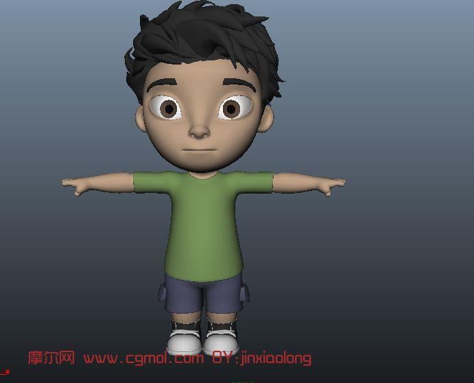 男孩 卡通人物maya模型 高清图片