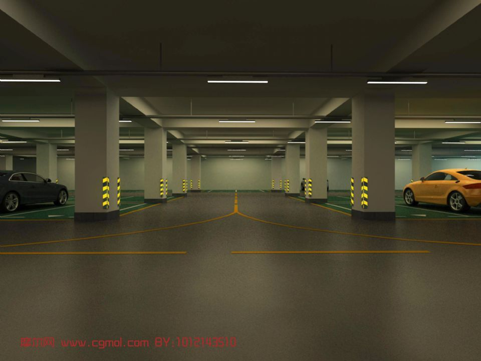 地下室,地下停车场,室内场景,建筑max模型