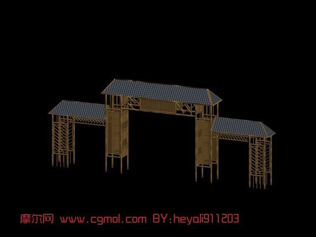 竹牌楼,大楼,大门,中式建筑,室外场景max模型