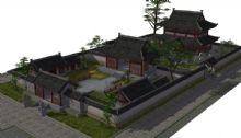 水阁庭院,住宅,中式建筑,古代场景max模型