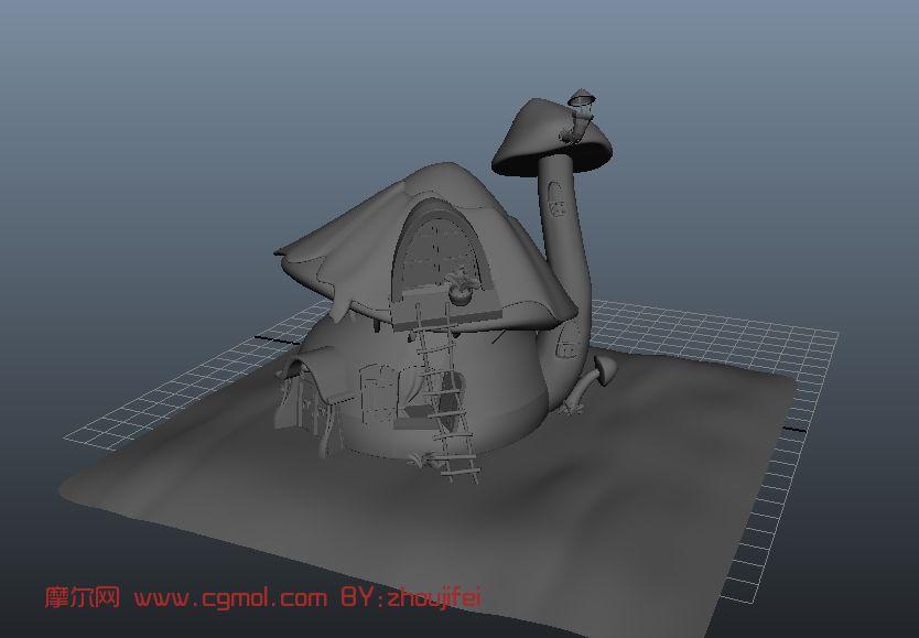 蘑菇房,卡通房子,室内场景maya模型