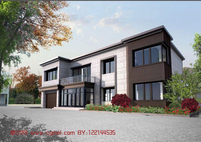现代场景别墅,模型,现代乘以,室外别墅max住宅8.5米米建筑风格的12图片