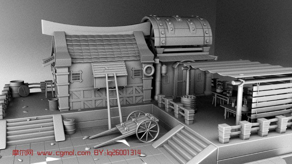卡通房子,古代建筑,室外场景maya模型