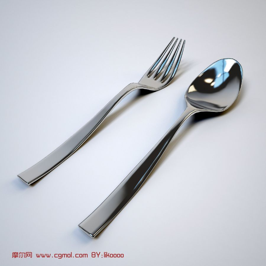勺子和叉子,餐具max模型
