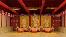 逼真寺庙内部效果图,大雄宝殿,古建筑,室内场景max模型