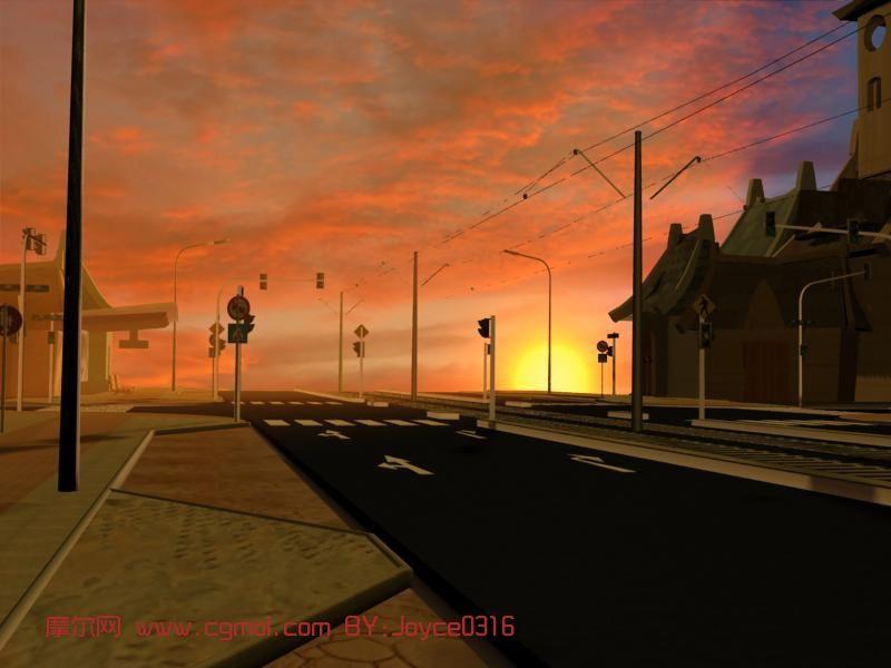 黄昏下的马路,室外场景max模型
