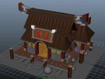 桃花源记,房子,卡通建筑maya模型