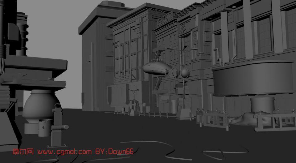 街道,现代建筑,室外场景maya模型 现代场景 场景模型 高清图片