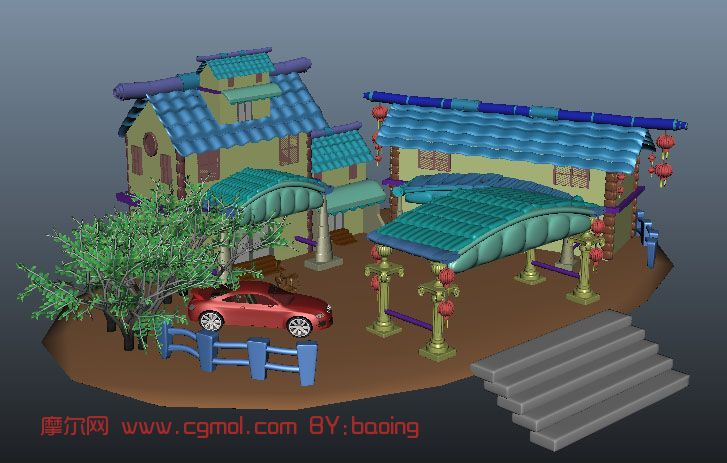 卡通场景,木屋,房子,汽车,室外场景maya模型