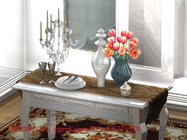欧式餐桌,烛台,花瓶maya模型