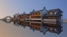 吊脚楼,古建筑,江南古镇,住宅.室外场景max模型