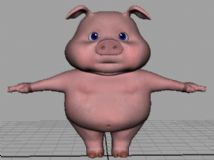 可爱卡通小猪maya模型 包含模型+obj+贴图+UV贴图