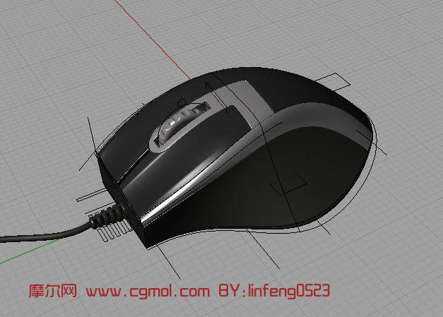 有线鼠标,电脑配件3D模型