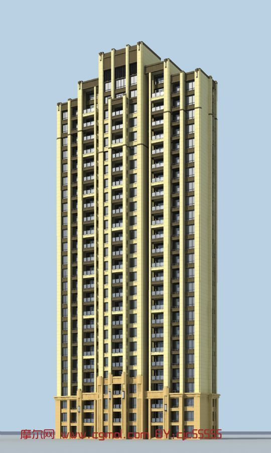artdeco风格高层建筑3d模型图片