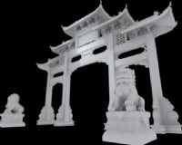 传统门头,石狮子3D模型