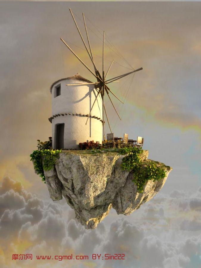 悬浮风车,悬浮山体房屋