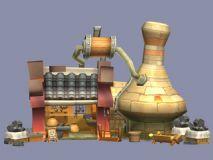 Q版建筑打铁铺,武器店3D模型