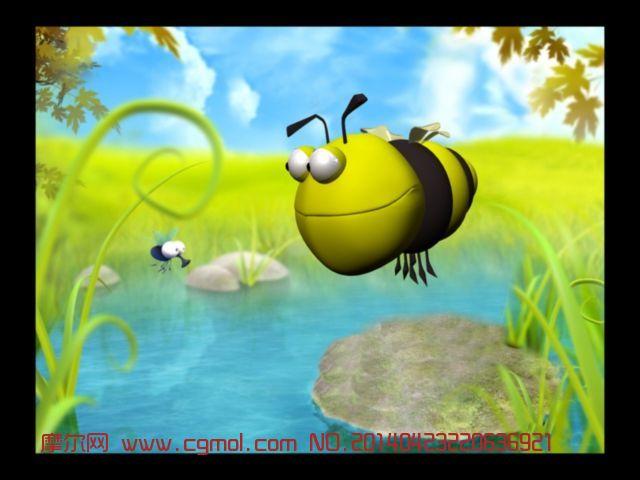 小蜜蜂,昆虫,动物模型,3d模型免费下载,cg模型下载