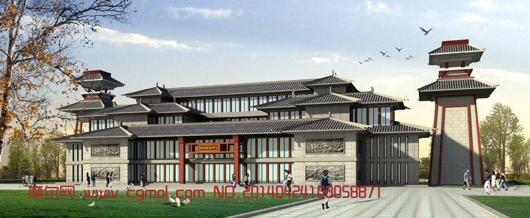 研发中心,中式建筑,建筑模型,3d模型免费下载,cg模型图片