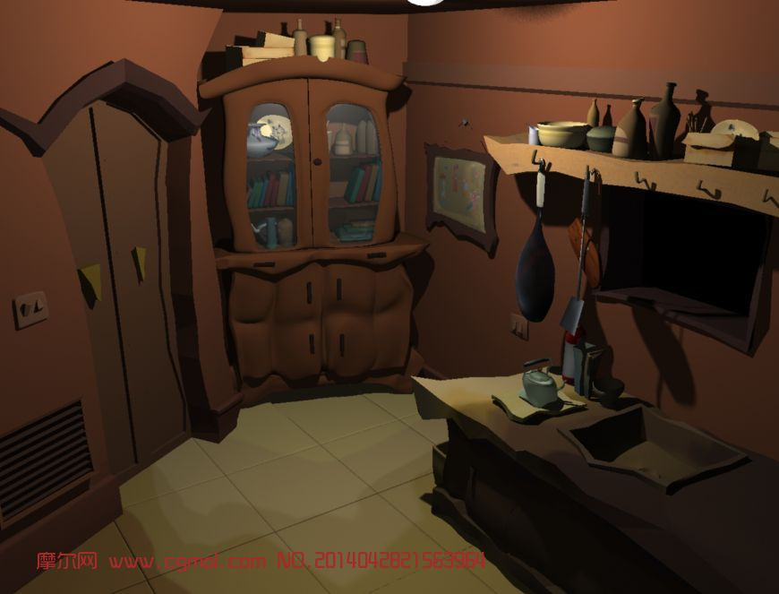 场景模型 现代场景  关键词:厨房卡通场景室内maya 作品描述: 上一个