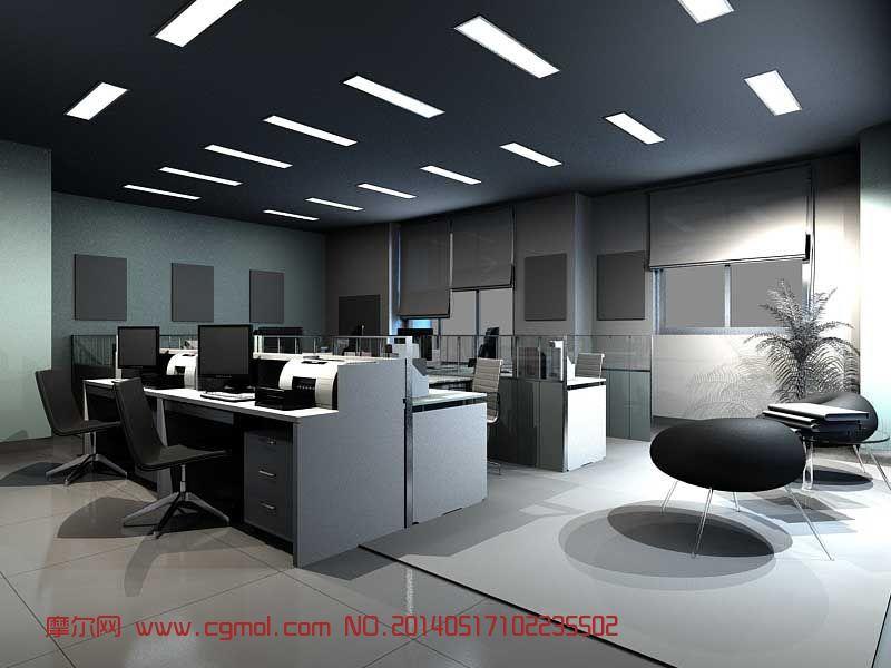 员工办公室3d模型,现代场景