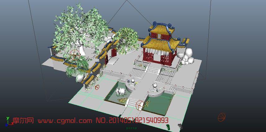 庭院,水池,花草,假山,古建筑�鼍�3D模型