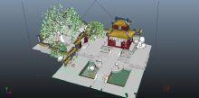 庭院,水池,花草,假山,古建筑场景3D模型