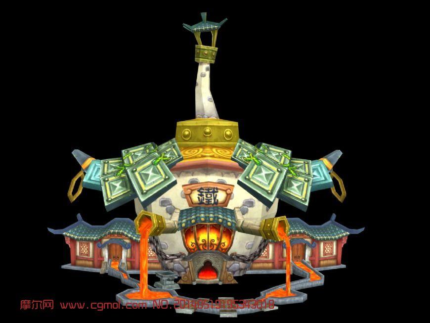q版炼铁炉3d模型_其他建筑图片