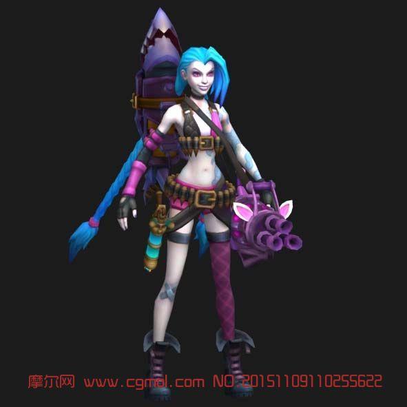 LOL英雄联盟金克斯3D模型,卡通角色,游戏角色,3d模型下载,3