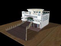 大学生服务中心 楼房模型   建筑