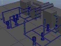 天然气接换站,换热站3D模型