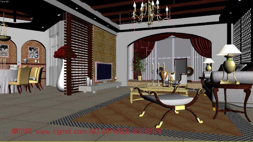 样板房客厅3d模型_整体效果