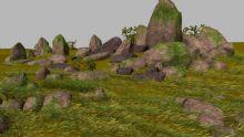 荒郊野外 草地 山头 石块