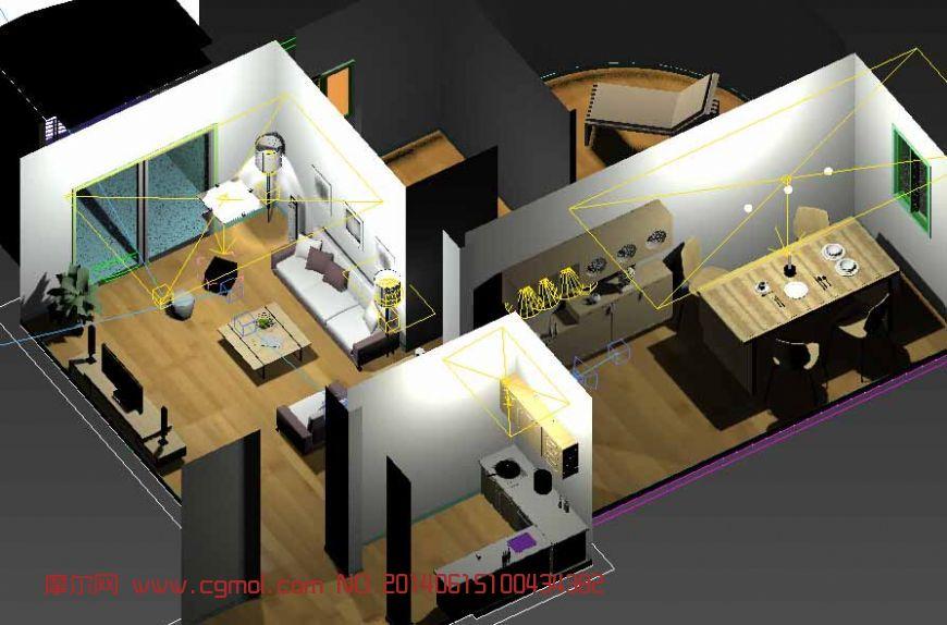 餐厅效果 卡西欧手表展柜3d模. 欧式卧室夜景3d模型.