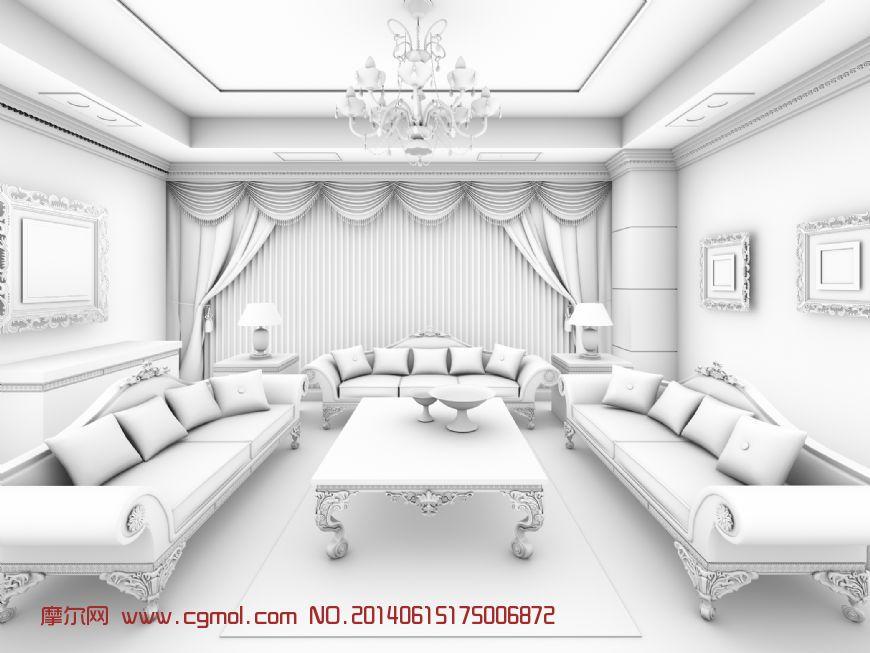 室内客厅模型 欧式风格