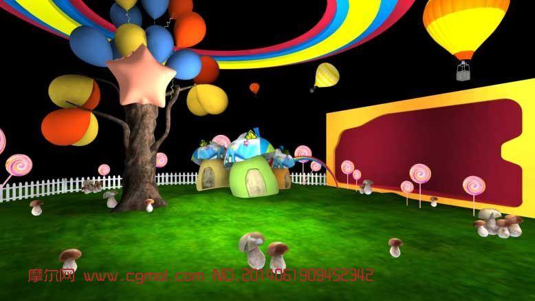 儿童游乐场_现代场景_场景模型_3d模型免费下载_摩尔网
