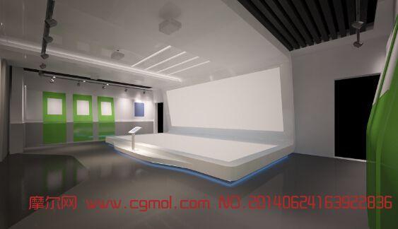 简单规划展厅_整体效果_室内模型_3d模型免费下载