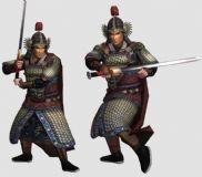 宋凤翅盔山纹甲武将 有绑定 挥剑动画