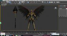 一个带翅膀的黄金甲战士3D模型
