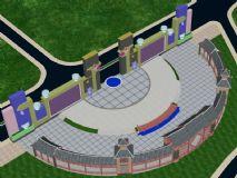 中式古典风格广场3D模型