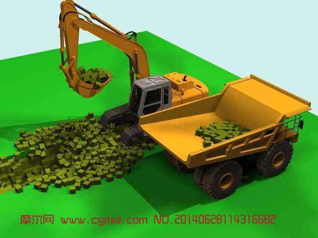 挖掘机 挖掘动画