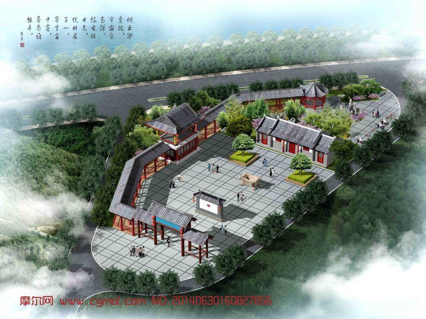 庙宇鸟瞰图_中式建筑_建筑模型_3d模型免费下载_摩尔网图片