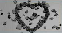 玫瑰爱心花瓣飘落场景3D模型