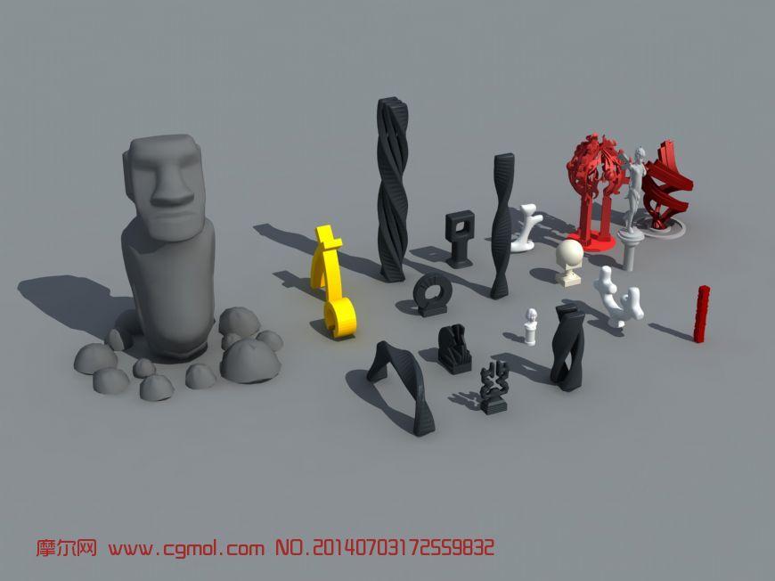 公园各种雕塑小品3D模型