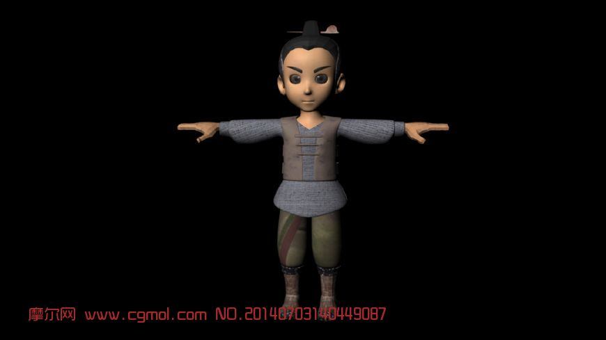 绑定好的卡通男孩3D模型